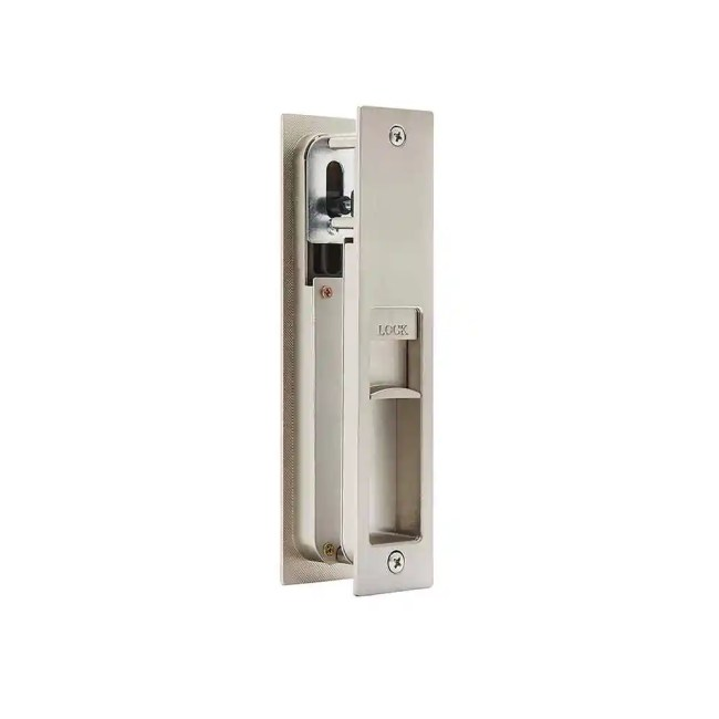 Ironmongery Gemini Satin Chrome Pocket Door Privacy Sliding Lock 2