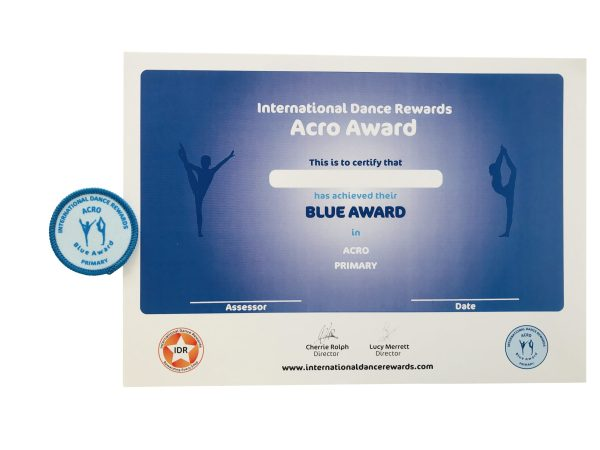 International Dance Rewards, dance rewards, dance school award, dance school rewards, dance school, dance school award, dance accreditation, dance accreditations, dance reward system, dance badge, dance certificate, dance badge and certificate, children's dance school, Acro award blue