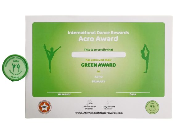 International Dance Rewards, dance rewards, dance school award, dance school rewards, dance school, dance school award, dance accreditation, dance accreditations, dance reward system, dance badge, dance certificate, dance badge and certificate, children's dance school, Acro award green