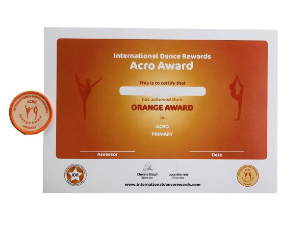 International Dance Rewards, dance rewards, dance school award, dance school rewards, dance school, dance school award, dance accreditation, dance accreditations, dance reward system, dance badge, dance certificate, dance badge and certificate, children's dance school, Acro award orange