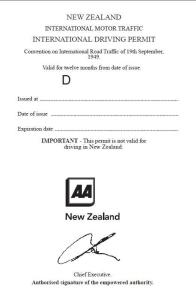 New Zealand International Driving Permit