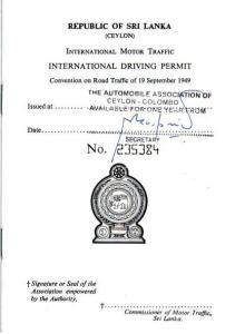 Sri Lanka International Driving Permit