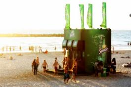 An awesome advertising idea by Sprite. A soda dispenser shower on the beach