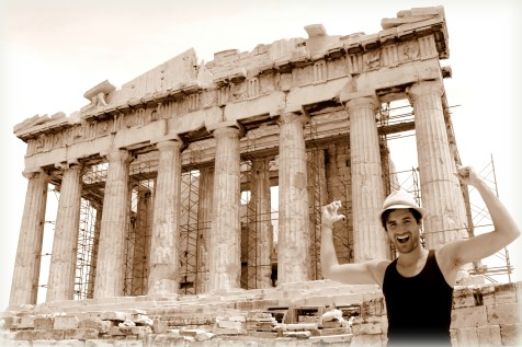 In front of the the Parthenon. The famous temple sits on the Athenian Acropolis, Greece, dedicated to the maiden goddess Athena