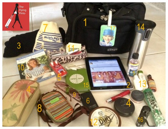 This is what flight attendant blogger, Sara Keagle, keep in her black bag.