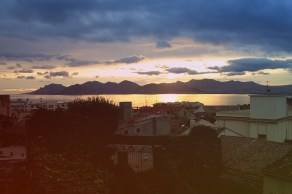 The sun setting over Cannes