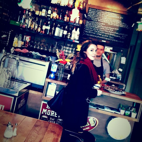 Sinead grabbing us some lattes