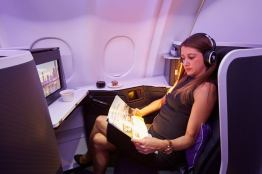 """High Definition 16"""" touch screens featuring the Virgin Australia Entertainment seatback system with an enhanced graphical user interface"""