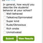 New Survey: In general, how would you describe the students' behavior at your school?