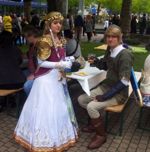 Young people in fancy costumes at Frankfurt Fook Fair