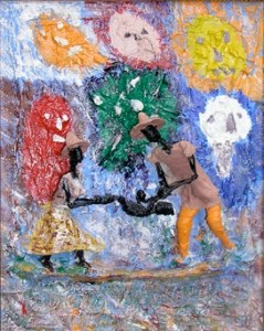 "Wish – 10""x8"" – (2002), acrylic, wire & mixed media on wood panel"