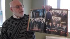 Marik Abel, a volunteer at the Estonian Jewish Center's museum, tells the history of Estonian Jewish life.