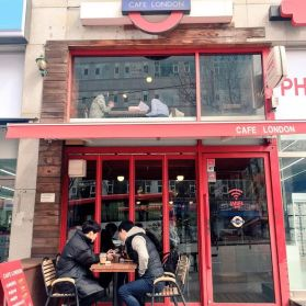 Students also study off-campus, such as at 'Cafe London,' one of dozens of coffee shops located in downtown Yongin.