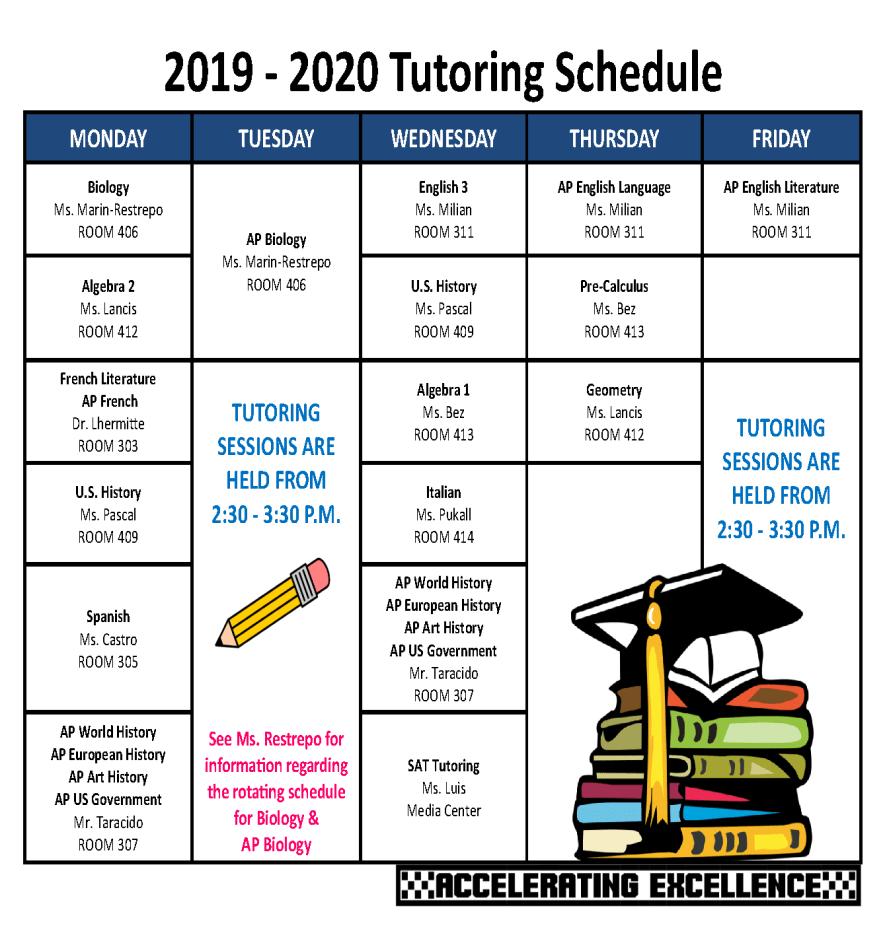 2019-2020 Tutoring Schedule