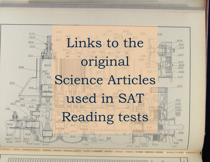Links to the Science Articles used in the SAT tests