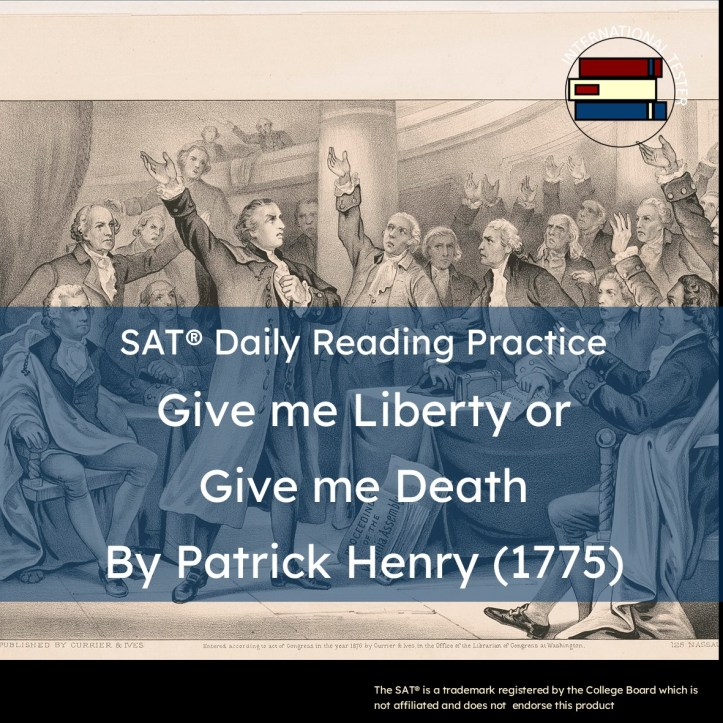 Patrick Henry Give me Liberty or Give me death speech with vocabulary list and reading questions