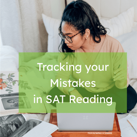 image of woman sitting on bed with computer tracking mistakes on SAT reading.