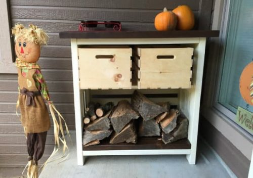 Combination Firewood Rack and Kindling Storage
