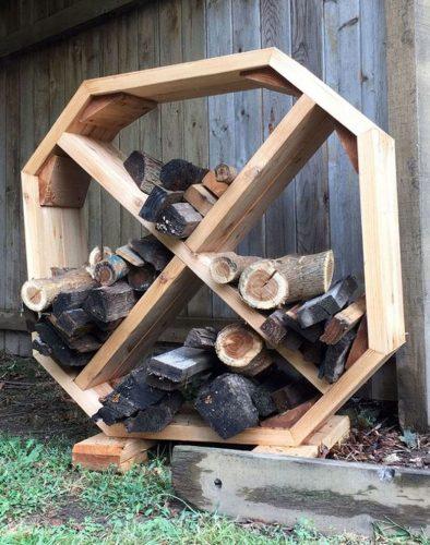 Modern Geometric Firewood Storage shelf