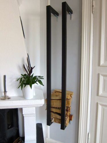 Wall mounted indoor firewood storage