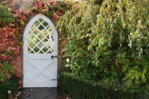 fall garden gate landscape