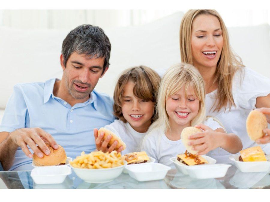 happy family eating the IZB healthy moments bucket