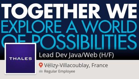 Postulez dès maintenant pour #Thales en tant que Lead Dev #Java/#Web (H/F) #Véli...