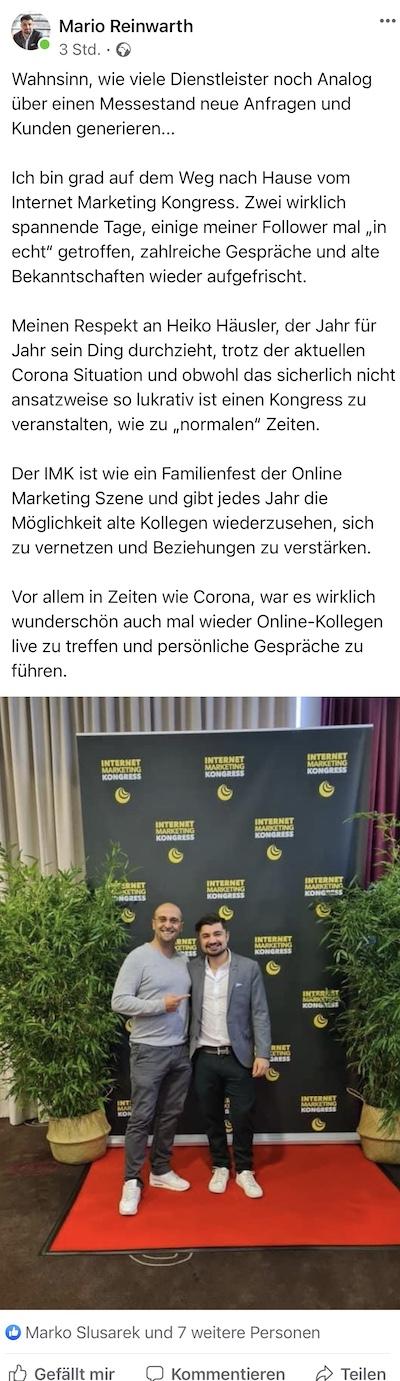 Feedback von Mario Reinwarth auf dem Internet Marketing Kongress 2020 von Heiko Häusler