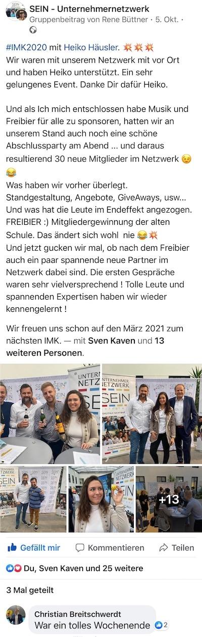 Feedback von René Büttner auf dem Internet Marketing Kongress 2020 von Heiko Häusler