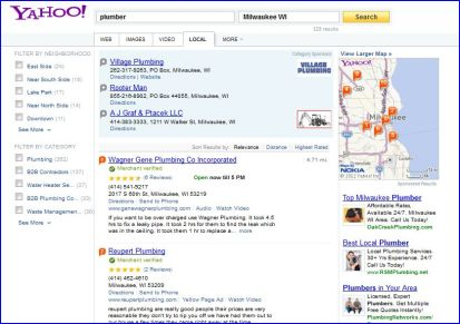 yahoo local, local search results, SEO