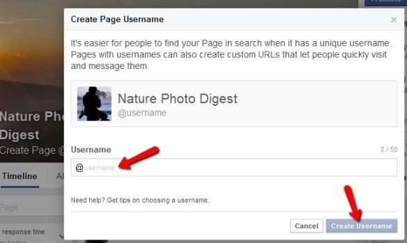 Facebook create page username
