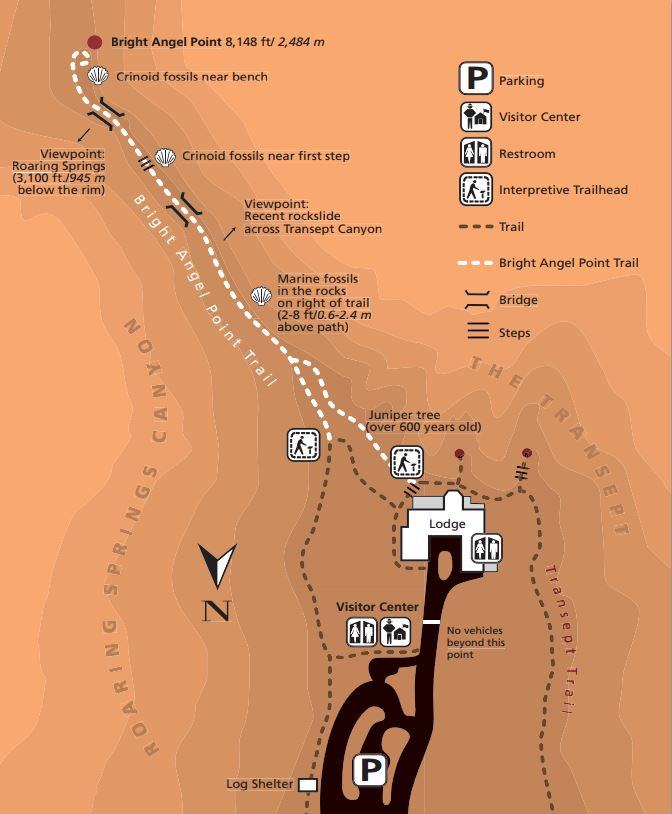 Bright Angel Point Trail Map - North Rim Grand Canyon