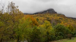 Chimney Rock shrouded in clouds