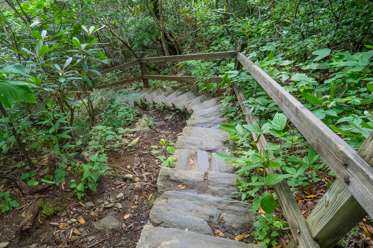 There are three distinct sets of these stairways that ease the steepness of the descent.