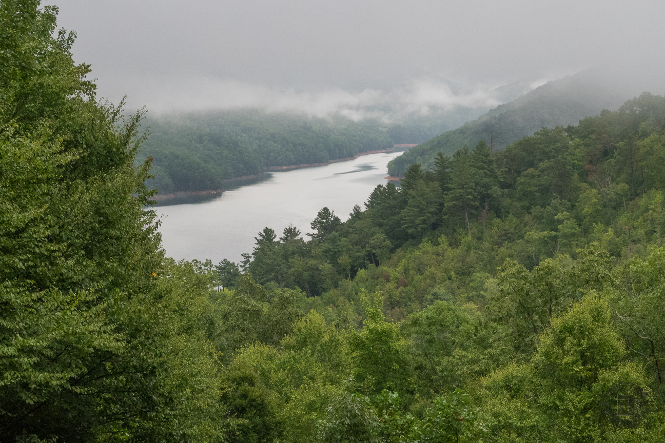 The sky looked threatening over Fontana Lake, but the combination of cold water and damp, warm air made for an interesting fog-shrouded setting. The Smokies national park is on the north side of the lake (right), while the south side lies in Nantahala National Forest.