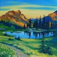 Artist paints women hikers