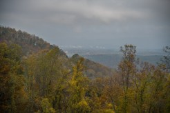 Asheville skyline in the fog from the Blue Ridge Parkway