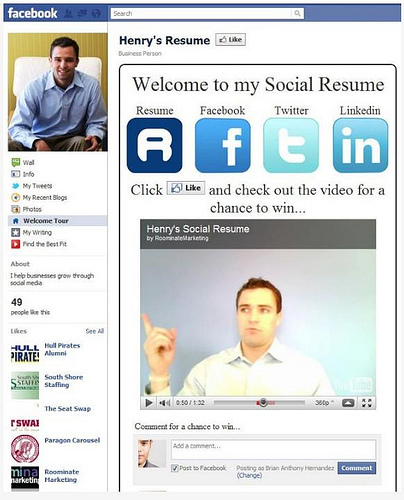 Facebook: una página más de la hoja de vida