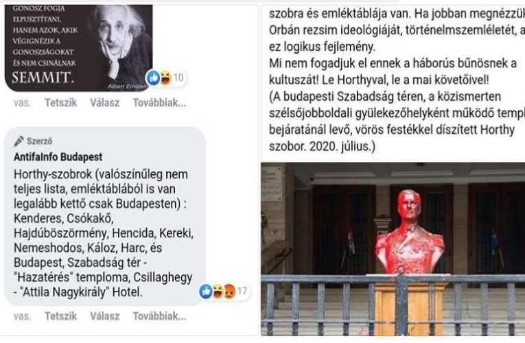 Olvasónk küldte: Az antifák lényegében felbujtottak a Horthy emlékművek ellen (frissítve)