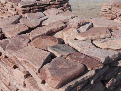 Песчаник плитняк розовый галтованный