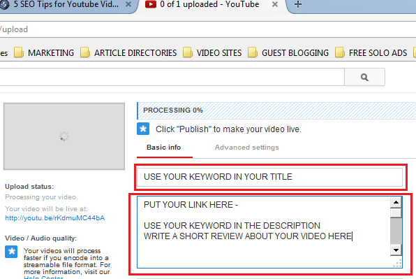 Use your Keywords in the Title and Description