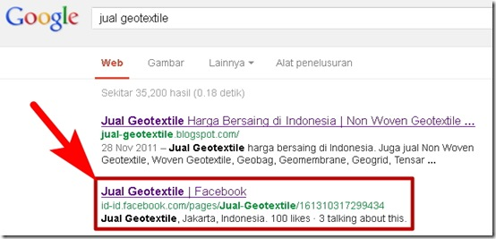 Facebook Fan Page di Google SERP
