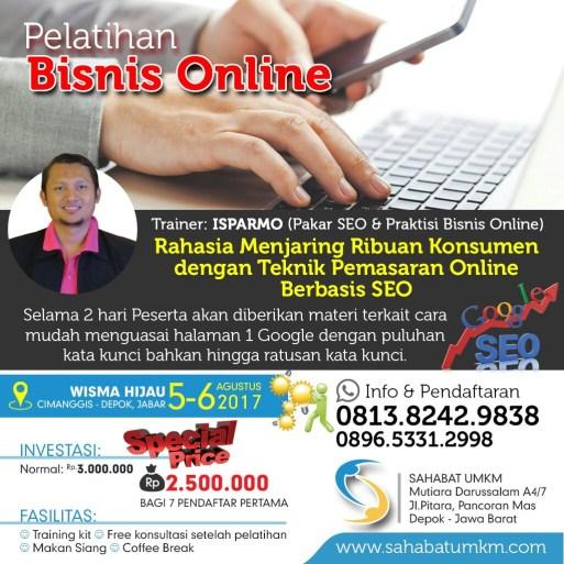 Pelatihan kursus seo internet marketing Depok 5-6 Agustus 2017