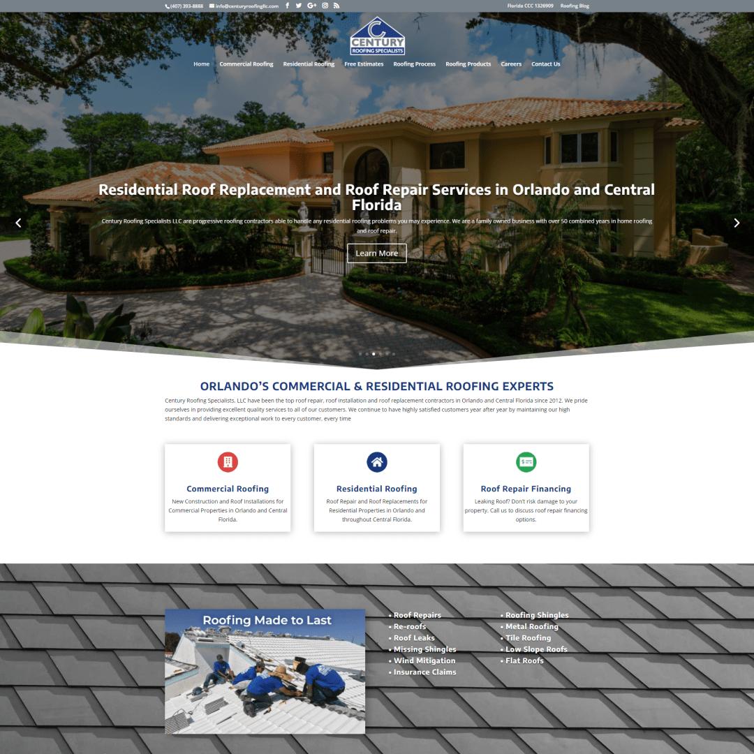 Century Roofing Specialists Website Design and Development