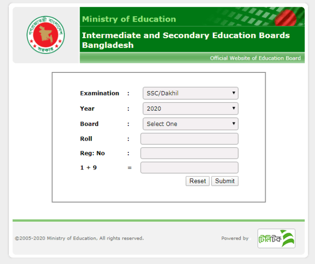 ssc result 2020 Education Board Bangladesh
