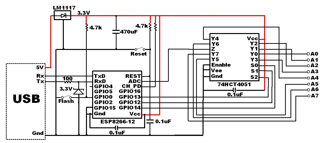 Internet of Home Things » 8 ESP8266 analog inputs for 22 cents