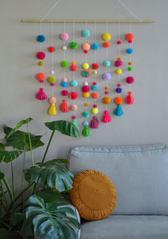Colorful-Pom-Poms-with-String
