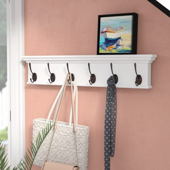 Bright White Shelf with Hooks