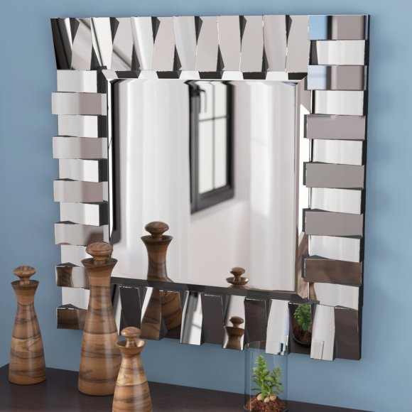 Contemporary Mirror with Square Accents