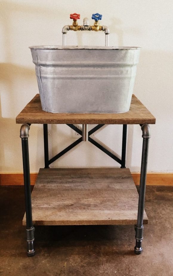 Wash Tub with Sewing Machine Stand